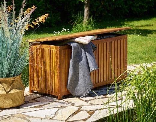 Wooden Garden Storage Box Acacia Wood with Interior Tarpaulin
