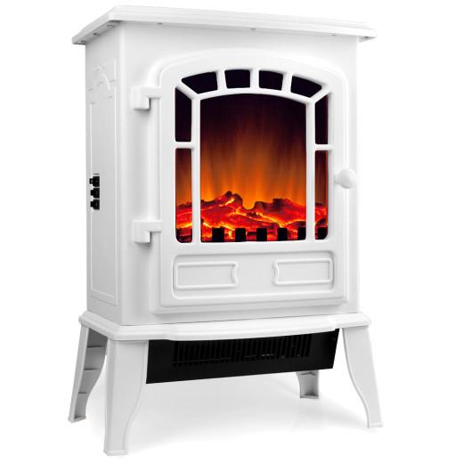 Elektro-Kamin mit Heizung und Kaminfeuer-Effekt 2000W weiß