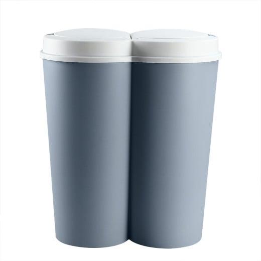 Double Dustbin Blue Plastic 2x25L