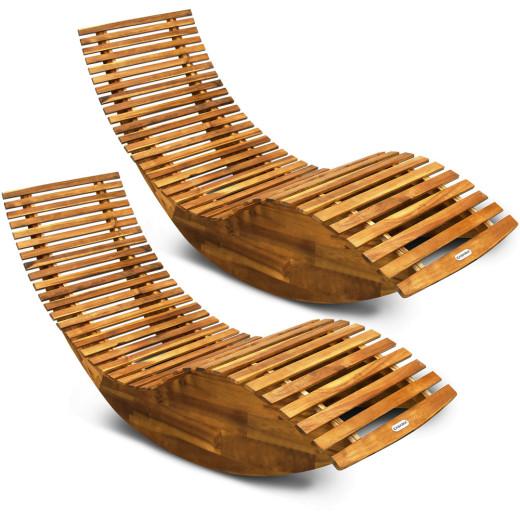 Rocking Sun Lounger Acacia Wood - Set of 2