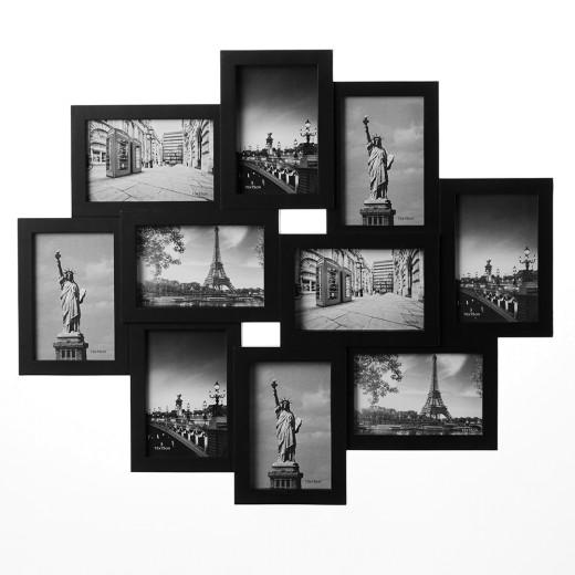 Bilderrahmen Collage in schwarz für 10 Fotos (10x15) - HxB 59x50cm