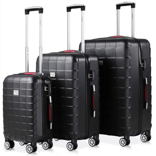Hard Shell Suitcase 3Pcs Exopack Black M,L,XL