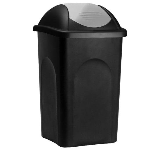 Dustbin in Black/Silver made of Plastic 60L