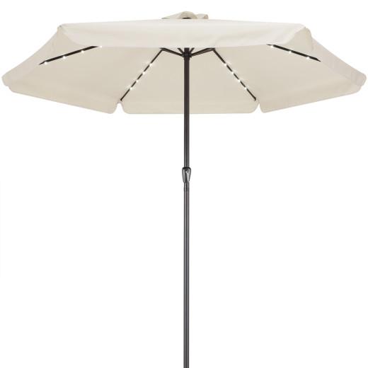 LED Solar Parasol Athen Cream 330cm