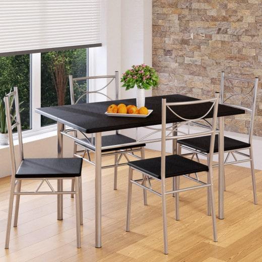 Dining Table Chairs Set Paul 5 Pcs Black