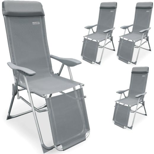 Sun Lounger Set in Grey with adjustable backrest
