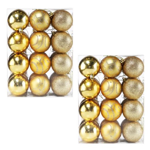 Christmas Baubles 48Pcs Gold