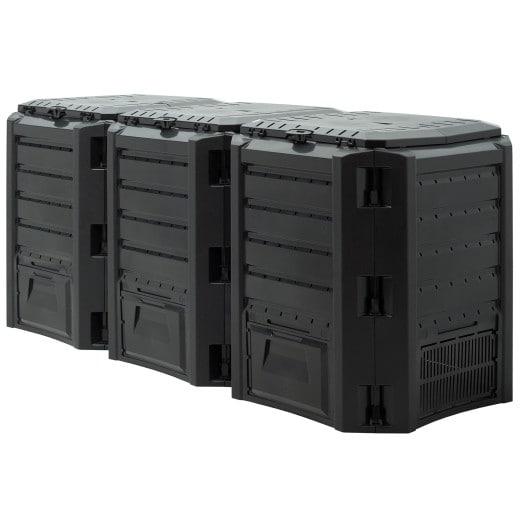 Garden Composter Black 1200L 6.5x2.4x2.7ft 1200L