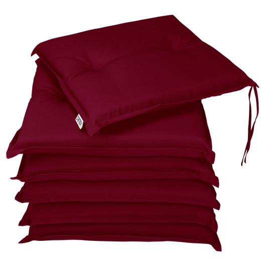 6 x Seat Pad Cushion Red 43 x 39 x 5 cm