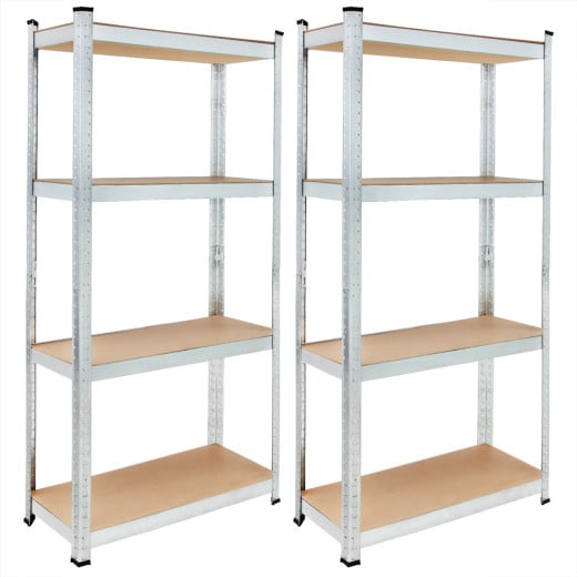 Set of 2 Heavy Duty Shelves 5.5x2.5x1ft Galvanized Metal max. Load 280kg