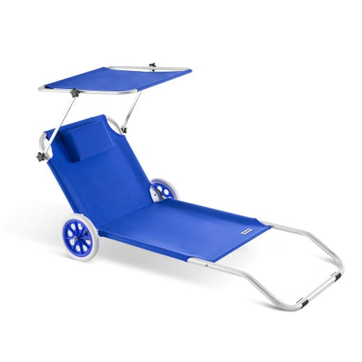 Sun Lounger Kreta Blue Aluminium with wheels