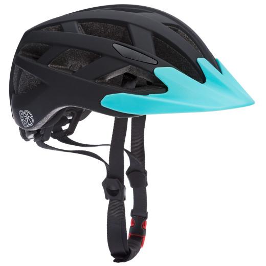 Kids Bike Helmet Black/Blue Size S with Warning Light