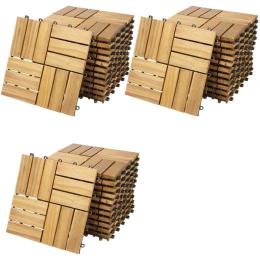 Decking Tiles Acacia Mosaic 1x1ft - Set of 33