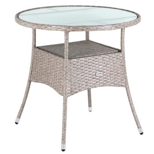 Poly Rattan Round Side Table - Ø 80 cm - Creme