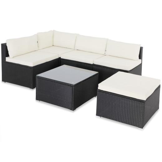 Poly Rattan Garden Lounge Set 16 Pcs Black