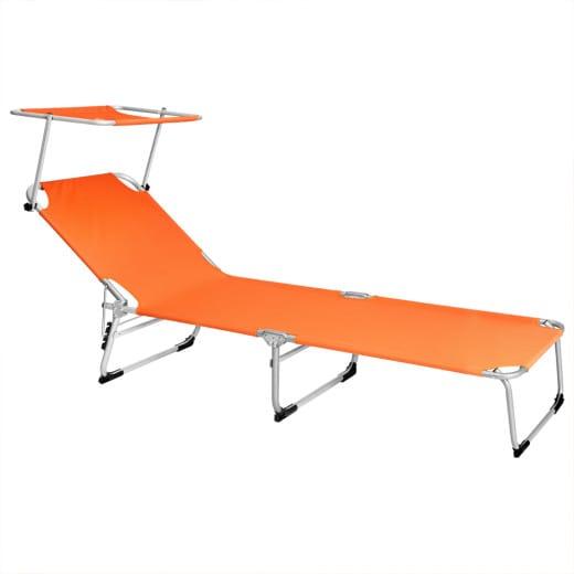 Sun Lounger Hawaii Orange Aluminium 195x60x30cm with Suin Shade