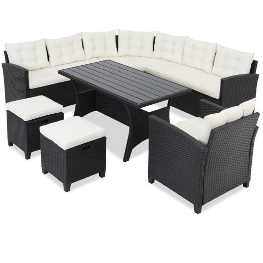 Poly Rattan Corner Sofa 18Pcs Black/Cream
