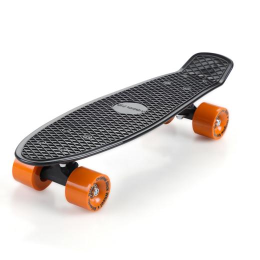 Retro Skateboard Schwarz/Orange