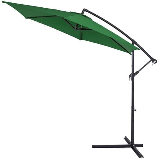 Lovely Aluminium Sun Parasol Hanging Sunshade 3m UV30 Green Banana Cantilever