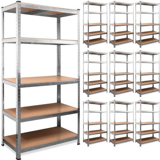 Set of 10 Heavy Duty Shelves 6x3x1.3ft Galvanized Metal max. Load 875kg