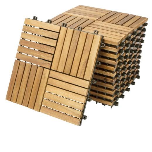 Decking Tiles 11Pcs Acacia Wood 1x1ft Quatro Mosaic