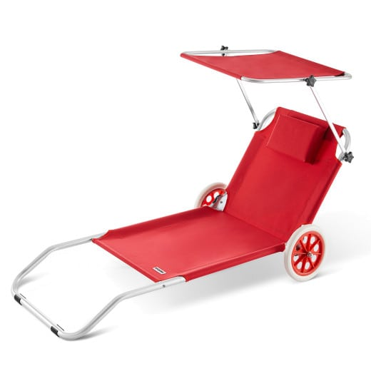 Alu Sun lounger KRETA with sunshade - Red