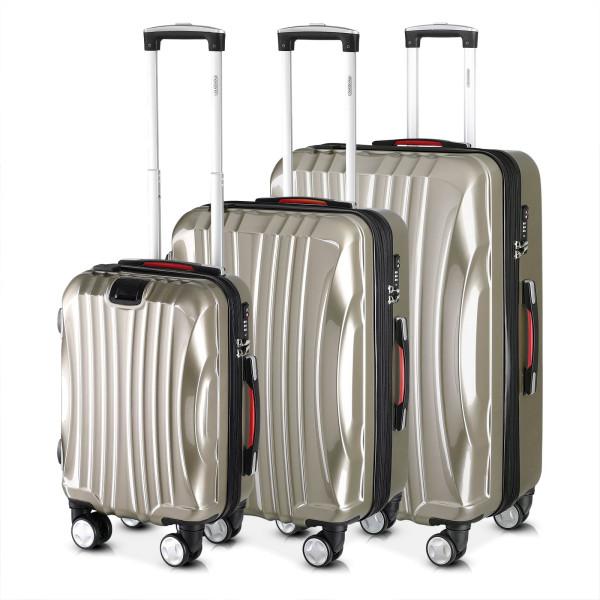 Monzana Suitcase Set 3 Pieces Trolley USB Carry On TSA Hand Cabin Luggage Hard Shell Travel Bag Lightweight Wheels
