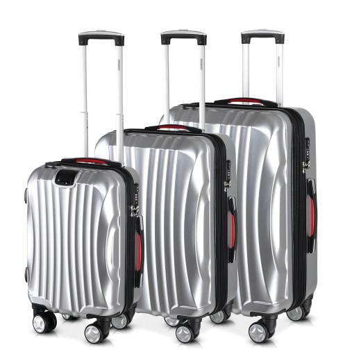 Hard Shell Suitcase Icarus 3Pcs Silver M,L,XL