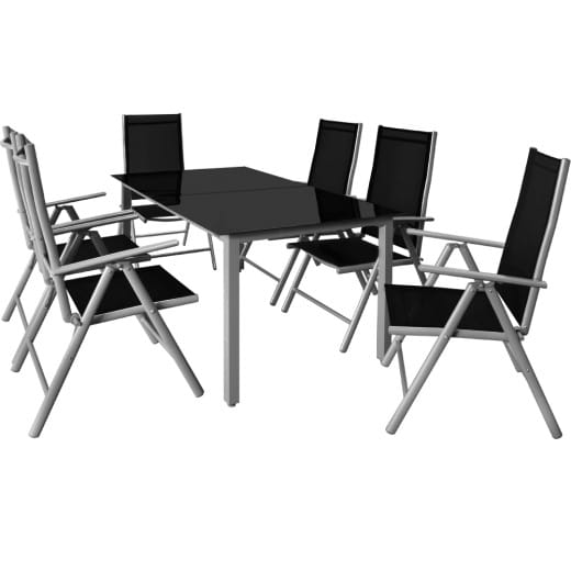 Garden Dining Set Bern 7Pcs Silver Aluminium