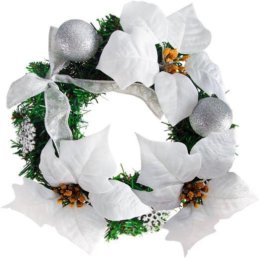 Türkranz Weihnachtskranz 22cm weiß