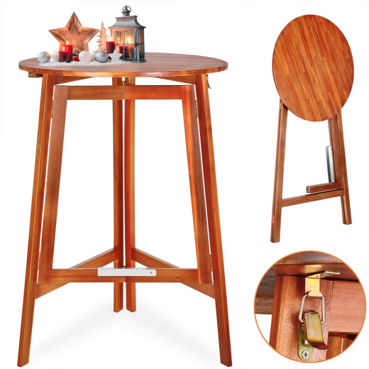 Round High Table made of Acacia Hardwood Folding Function