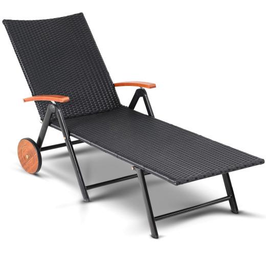 Poly Rattan Sun Lounger Black 187x56cm with Castors