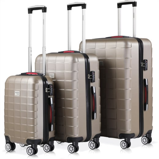 Hard Shell Suitcase 3Pcs Exopack Cream M,L,XL