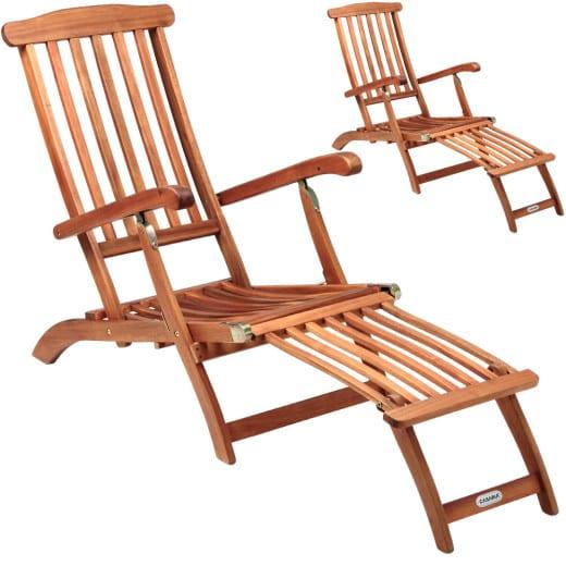 2x Deckchair Liegestuhl Akazienholz
