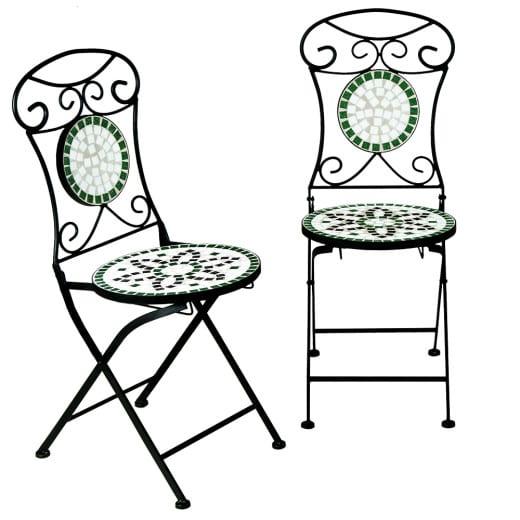 "Mosaic Bistro Chair Set of 2 ""Flora"""