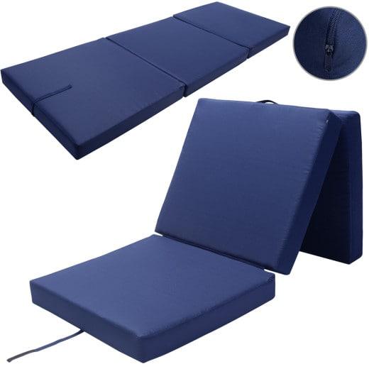 Folding Mattress Guests Camping Blue 190 x 70 x 10 cm
