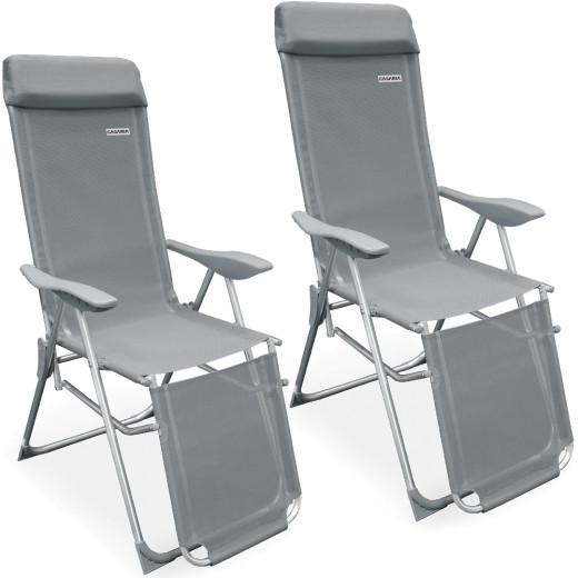 High Back Garden Chair 2Pcs Anthracite Aluminium