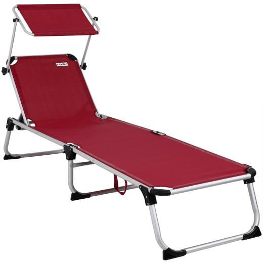Sun Lounger Aluminium Adjustable Canopy Sunshade Red