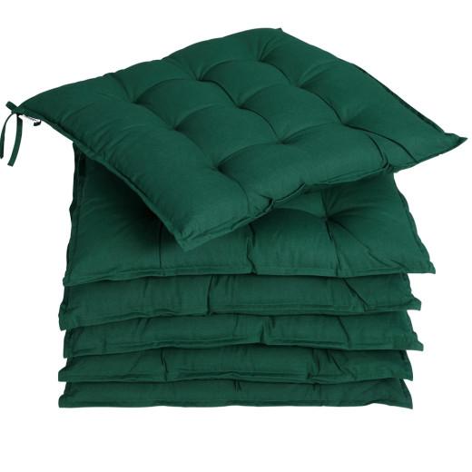 6x Garden Chair Cushion Cozy 55% Cotton Outdoor Patio Green