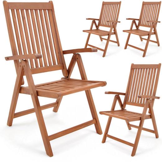 "Wooden Folding Chair Set of 4 ""Vanamo"" made of Eucalyptus Wood Ergonomically Shaped Backrest"