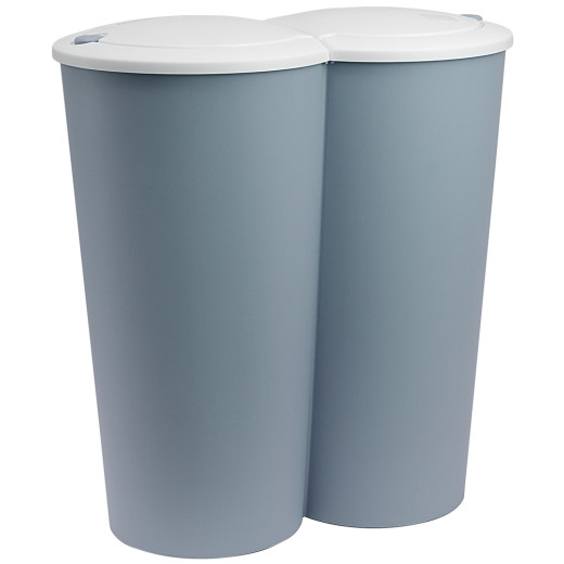 Doppelmülleimer Kunststoff Blau 2x25 Liter 50x53cm