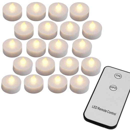 20 tlg. LED Teelichter Set mit Fernbedienung