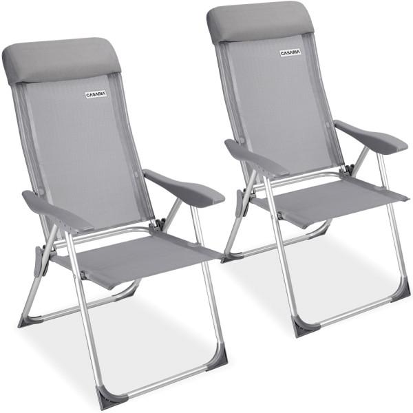 2x Garden Chair High Backrest Aluminium Grey Foldable
