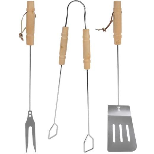 Grillbesteck 3-tlg. Edelstahl mit Holzgriffen