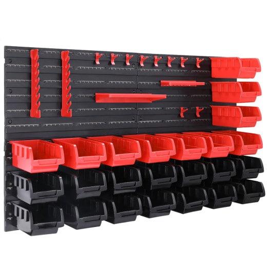Wandregal mit Stapelboxen und Werkzeughalter 43-tlg.