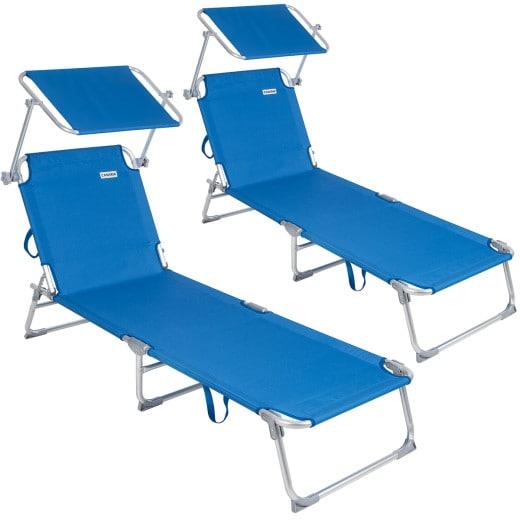 Sun Lounger Ibiza 2Pcs Blue Aluminium with Sun Shade