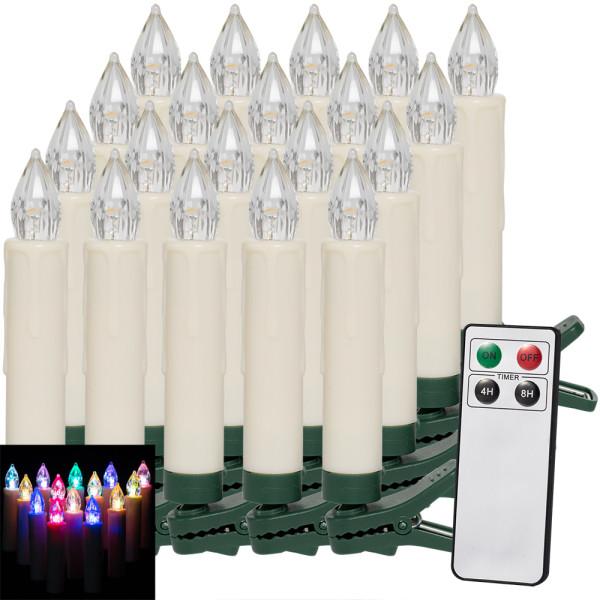 LED Weihnachtsbaumkerzen 2er-Set Bunt mit Fernbedienung