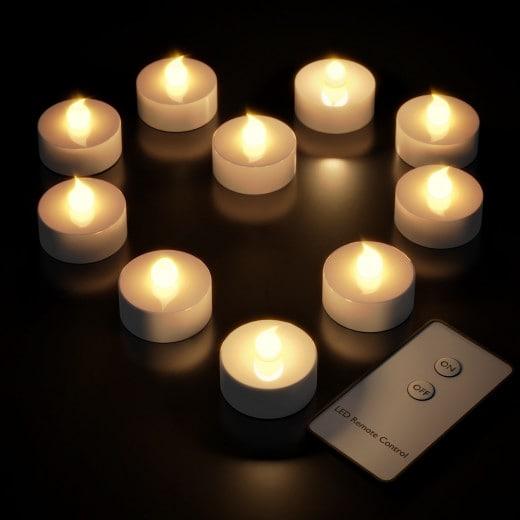 LED Tea Lights 10Pcs Warm White Flickering