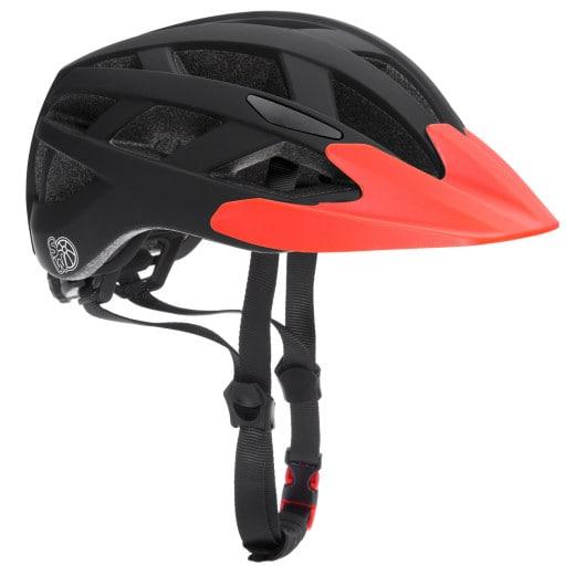 Kids Bike Helmet Black/Orange Size S with Warning Light