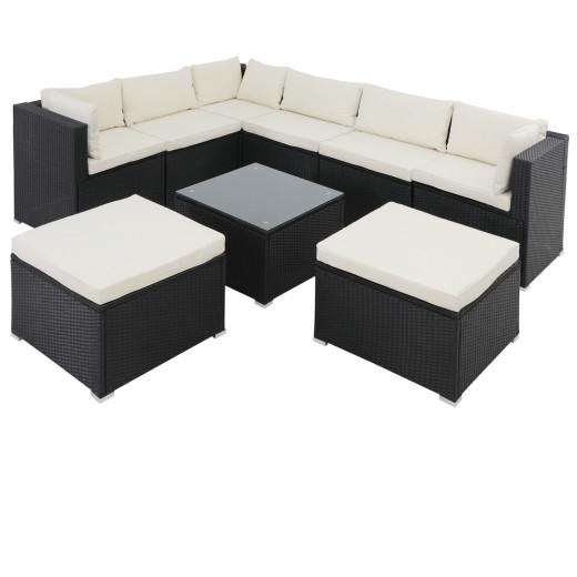 Poly Rattan XXL Lounge Set including 2 stools - Black/Cream